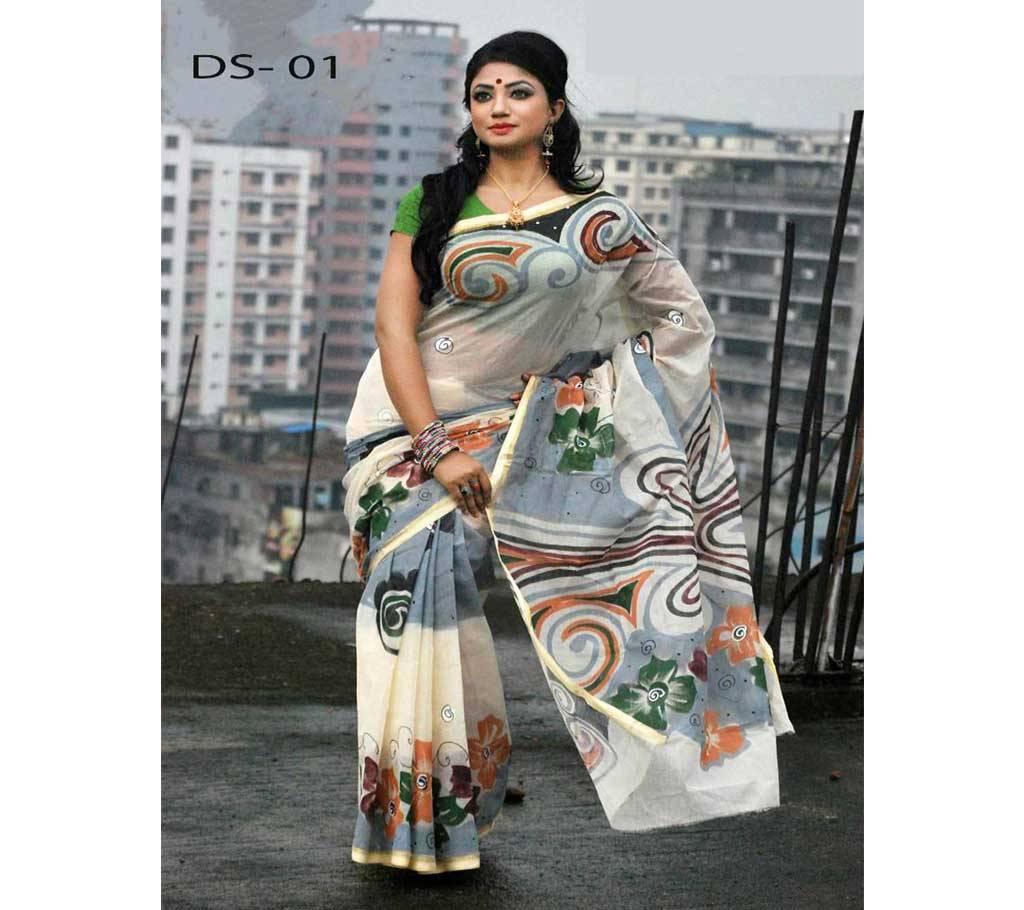 কটন কোটা হ্যান্ড প্রিন্ট শাড়ি বাংলাদেশ - 906085