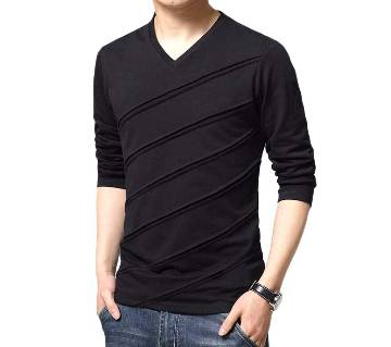 Full Sleeve Gents Casual V-Neck T-Shirt
