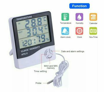 HTC-2 Thermometer Hygrometer Weather Station Wireless Temperature Humidity Tester Indoor Outdoor Probe Clock Alarm Tool