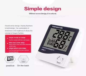 HTC-1 Digital Temperature Humidity Meter Home Indoor Outdoor hygrometer with Clock Replace HTC-2