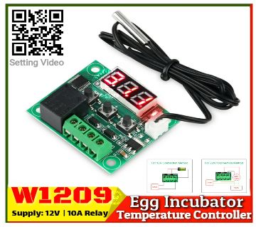 W1209 Incubator Temperature Controller DC 12V 10A Relay Three Digit RED LED Tube