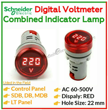 AC Voltmeter + Signal Indicator Lamp (Red)