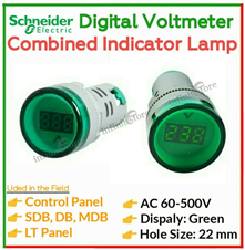 AC Voltmeter + Signal Indicator Lamp (Green)