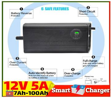 Smart Fast Battery Charger 12V 5A for Solar, UPS, IPS, Easy Bike