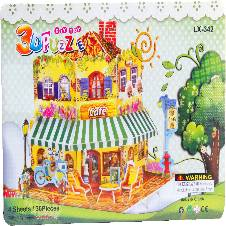 3D Puzzle Cafe For Kids, Assembling Sheet, 36 Pieces, Attractive Show Piece