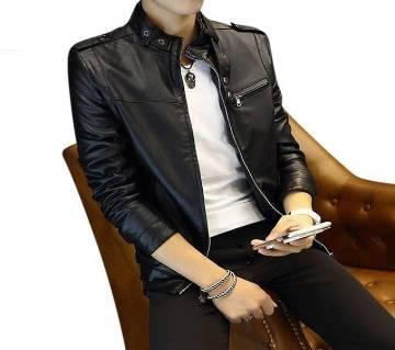 Black Artificial Soft Leather Jacket For Men