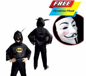Batman কস্টিউম ফর কিডস (Vendetta মাস্ক ফ্রি!)