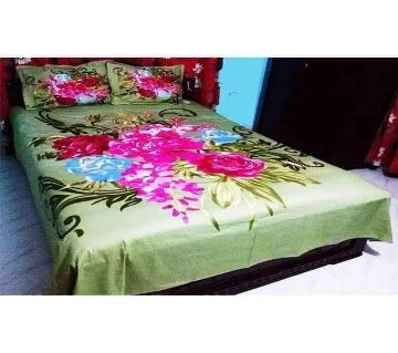 King Size Cotton Bed Sheet With 2 Pillow Covers - Multicolor