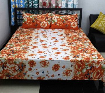 Cotton Bed Sheet Set With Two Pillow Cover - Multicolor - Fz-212