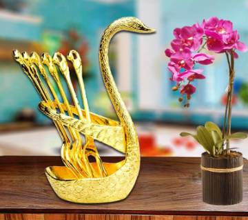 Spoon Set With Swan Stand- Golden