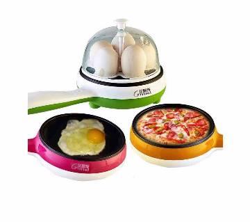 Multi functional egg boiling & frying pan