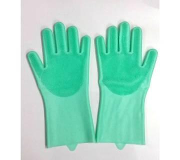 Silicone Kitchen Dish Washing Hand Gloves- Paste