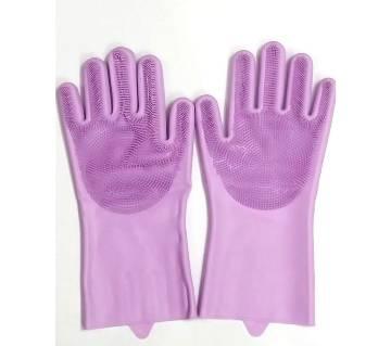 Silicone Kitchen Dish Washing Hand Gloves- Purple