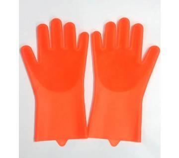 Silicone Kitchen Dish Washing Hand Gloves- Orange