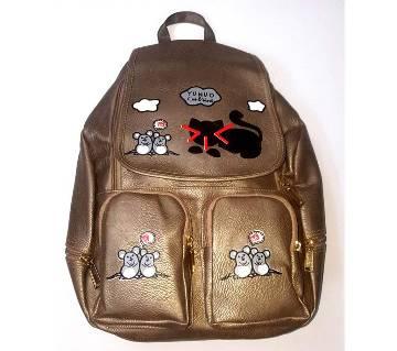 Backpack for Girls Glossy Golden- Tom & Jerry