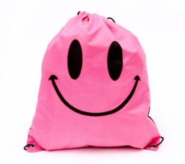 Drawstring Backpack- Pink Smiley