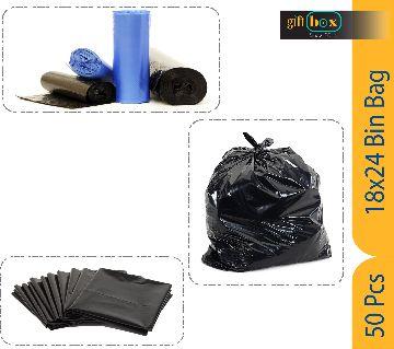 50 Piece 18 x 24 Inch Large Capacity Trash Bag Black Bin Bag