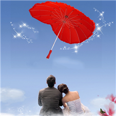 Red Heart Shape Umbrella