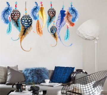 Retro Wall Sticker- Vintage Feather