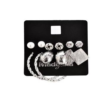 6 Pair Earring Set by Marte & Joven- Silver