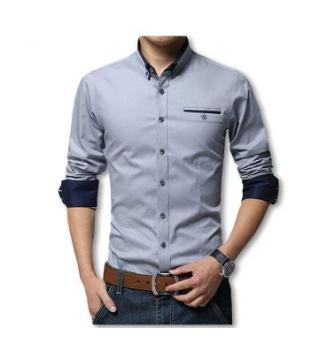 Gray Long sleeve casual shirt for man