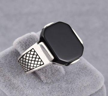 Stainless Steel Black Natural Stone Mens Finger Ring