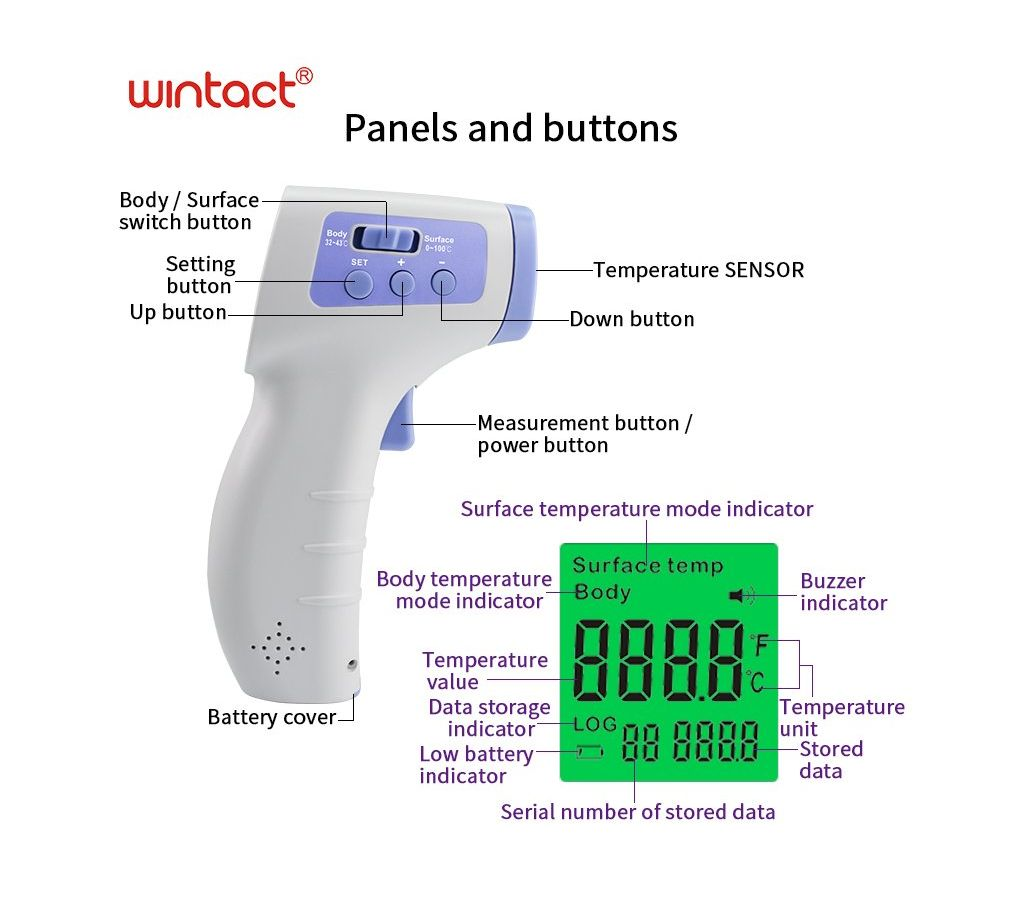 শরীরের তাপমাত্রা সনাক্তকরণের জন্য এলইডি ইনফ্রারেড থার্মোমিটার (Side Button) বাংলাদেশ - 1146244