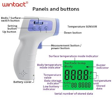 LED Infrared Thermometer (Side Button) for body temperature detection
