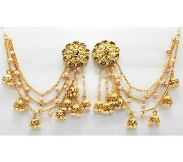 Bahubali Elegant traditional Indian Earrings Gold plated Jewellery Set