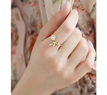 Adjustable Gold Plated Wishful Flower Leaves & Branches Finger Rings