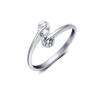 Silver Plated hion Design Twin Finger Ring