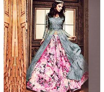 Gray and Pink Georgette Gown (Copy)