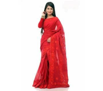 Red pure muslin silk embroidery sharee