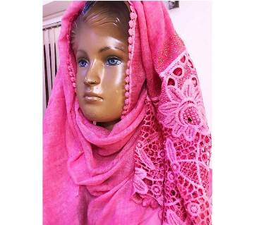 Pure Cotton Floral Design Hijab -Pink