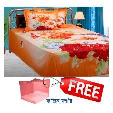 Original Home Tex Bedsheet set with Free Magic Mosquito Net
