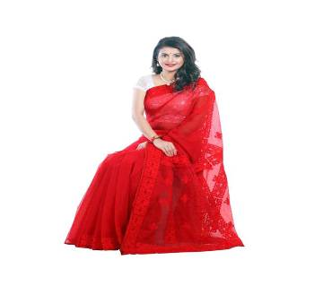 Pure Muslin Silk Saree with Hand Embroidery & Cutwork Applique