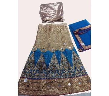 Stone and net work kids lehenga