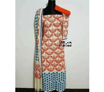 Unstitched Block Printed Cotton Three Piece - Copy