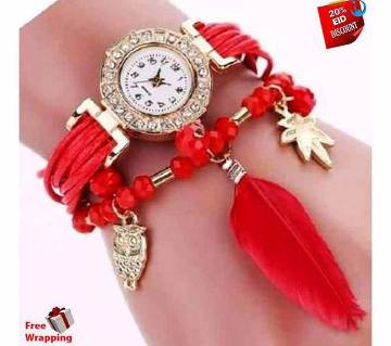 Ladies feather bracelet watch red