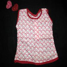 Red and White Printed Cotton Nima