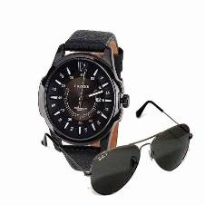 combo offer Curren Watch + Ray Ban Sun glass