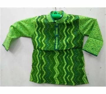Grass green print Panjabi  (1 -7 yrs)