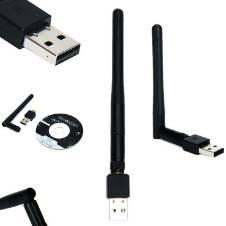 150Mbps Mini USB 2.0 Port ওয়্যারলেস ওয়াইফাই এডাপ্টার 802.IIN With Antenna - কালো