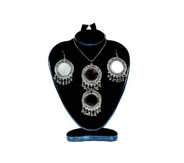 Silver Plated Mirror Jewellery Set