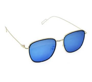 Golden Metal Frame Blue Sunglass for Men