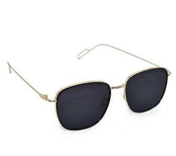 Golden Metal Frame Black Sunglass for Men