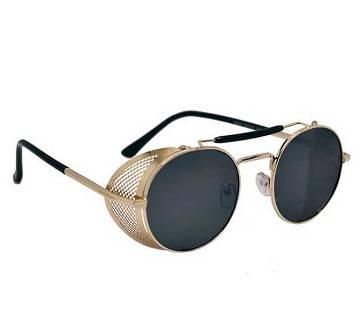 Golden Steel Metal Frame Black Sunglasses for Men