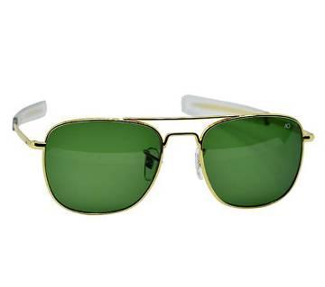 Golden Metal Frame Green Shade AO Sunglass for Men