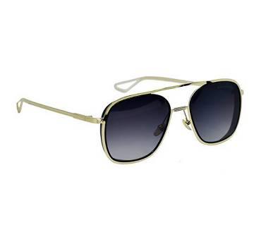 Golden Steel Frame Black Sunglass for Men