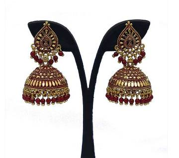 Gold Plated Maroon Pearl Indian Earing for Women